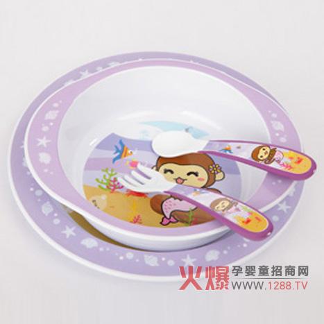 优优马骝婴儿餐具,一个婴儿碗,一个小汤匙,一个婴儿叉,一个婴儿盘子.