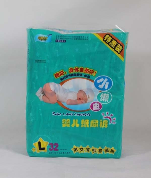 小懒虫大号尿裤 产品结构: 1,外观结构:有立体护围和弹性腰围; 2,芯