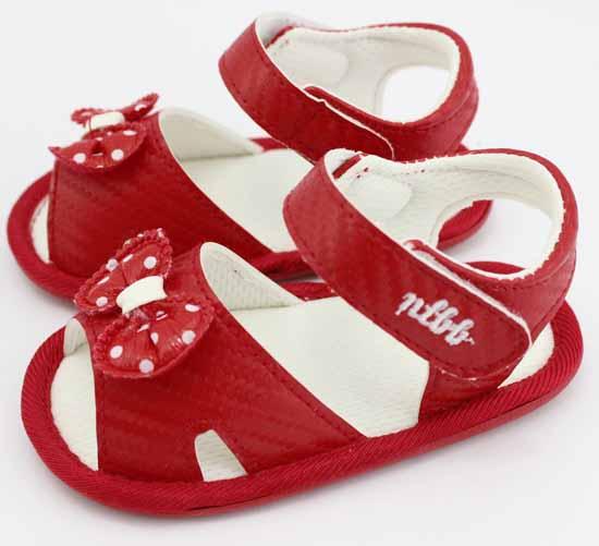 娜拉宝贝蝴蝶结婴儿鞋红色