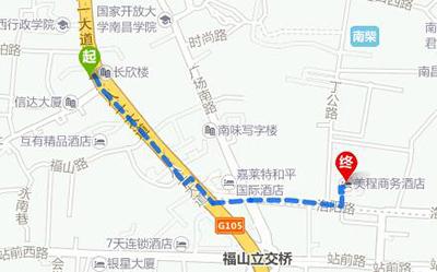南昌长途汽车站到美程商务酒店地图