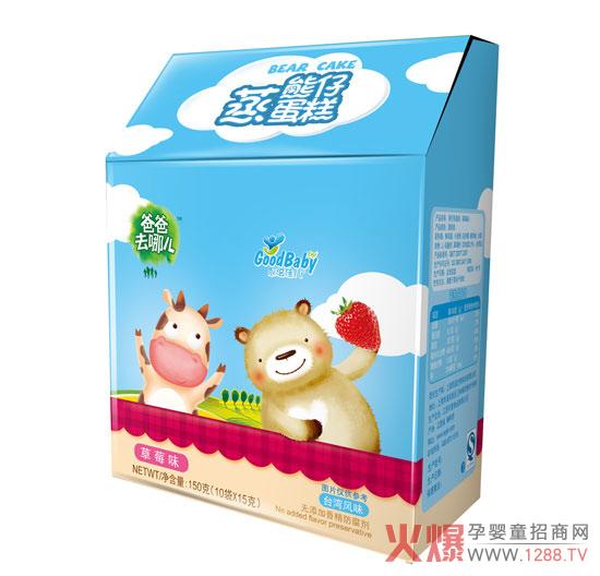 萌本来是指草木初生之芽等义,但是后来日本御宅族和其他的动漫喜好者用这个词来形容极端喜好的事物。而在2010年,萌字在网络上爆红,自然也有了新的含义,即可爱得让人感觉非常好。恩溢佳儿草莓味蒸蛋糕可谓是婴幼蒸蛋糕里的小萌主,可爱的熊仔外形,甜而不腻,美味得让人抗拒不了。  塑造好口味。恩溢佳儿草莓味蒸蛋糕选用原生态新鲜鸡蛋,优选全脂牛奶经典碰撞,营养美味全在其中,经典的高钙味,香甜的草莓味,添加L-乳酸钙,DHA以及全脂乳粉,营养多多,健康美味。独立的小包装设计,方便携带,开袋即食。蓝天白云的外包装