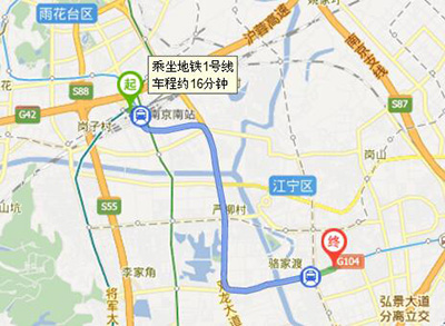 南京汽车客运南站到上品汇酒店地图