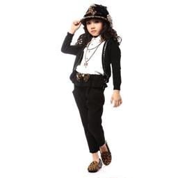 卡琪屋炫酷黑色女童西装代理