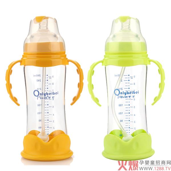 唯昵贝贝防摔防爆玻璃奶瓶  耐高温不易炸裂材质安全