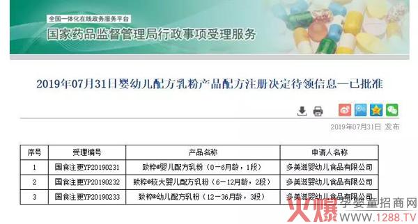 新一批奶粉国食注册号变更,共1个系列、3个配方