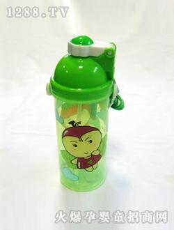 儿童水壶绿色卡通人