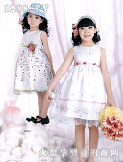 邦尼比利白色花纹公主裙