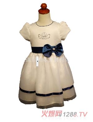 害羞公主蕾丝花边短袖礼服裙