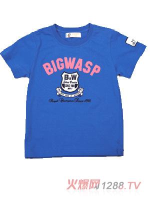 大黄蜂儿童蓝色t恤