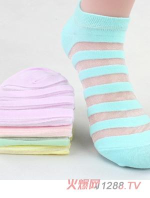 童尚夏款蕾丝条纹袜