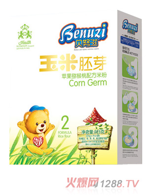 贝努滋苹果猕猴桃玉米胚芽米粉盒装