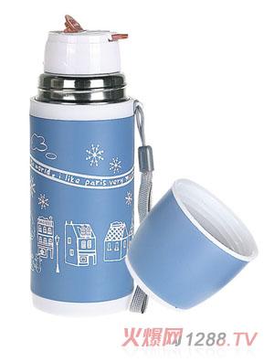 贝乐嘉蓝色雪花时尚儿童水壶