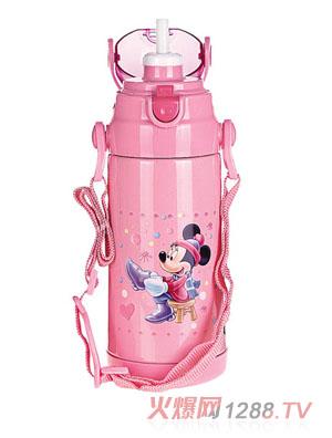 贝乐嘉粉色环保卡通保温水壶