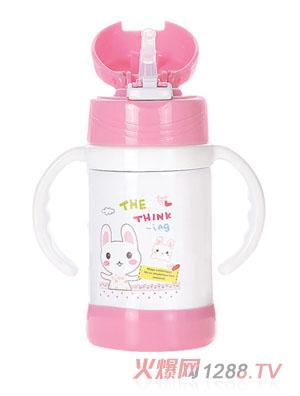 贝乐嘉粉色卡通保温环保水壶