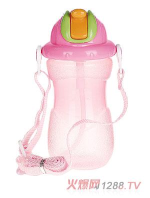 贝乐嘉粉色带盖婴儿环保水壶