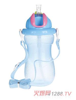 贝乐嘉蓝色婴儿带背带宝宝水壶