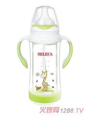 贝乐嘉贴花婴儿奶瓶绿色