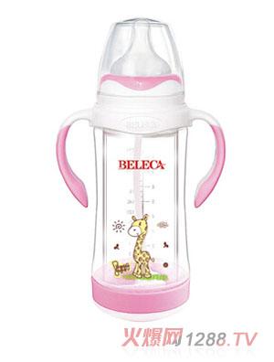 贝乐嘉贴花婴儿奶瓶粉色