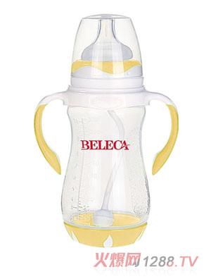 贝乐嘉黄色双柄带吸管易把握婴儿PP奶瓶