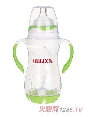 贝乐嘉绿色双柄带吸管易把握婴儿PP奶瓶