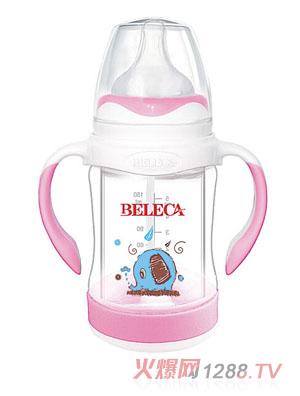 贝乐嘉包胶手柄两用防爆奶瓶粉色
