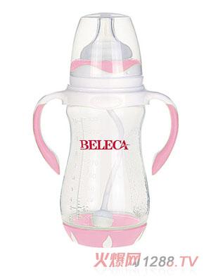 贝乐嘉粉色双柄全自动宽口PP奶瓶