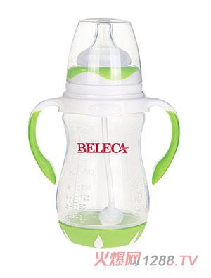 贝乐嘉绿色双柄宽口PP奶瓶