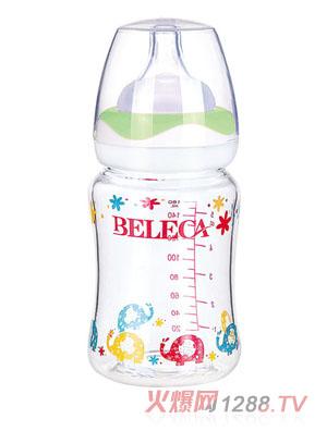 贝乐嘉弧形双层婴儿防爆玻璃奶瓶160ml