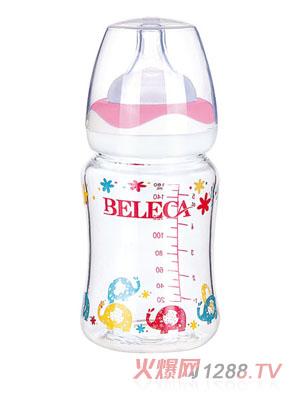贝乐嘉卡通双层晶钻玻璃奶瓶160ml