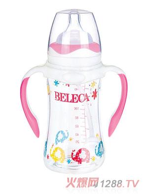 贝乐嘉卡通标口防摔防爆双层玻璃奶瓶