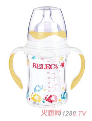 贝乐嘉黄色卡通小象双柄防摔玻璃奶瓶