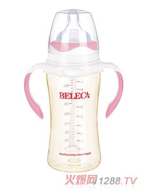 贝乐嘉粉色双柄婴儿硅胶奶瓶270ml