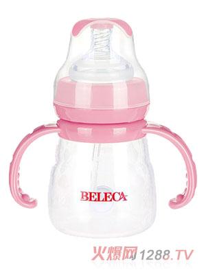 贝乐嘉粉色双柄婴儿硅胶全自动奶瓶