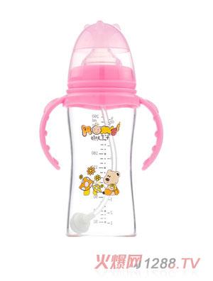 妈咪王子晶钻玻璃自动吸宽口260ml奶瓶