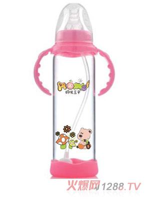 妈咪王子防摔晶钻玻璃自动吸标口200ml奶瓶