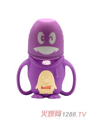 小太阳可爱企鹅晶钻玻璃奶瓶240ml