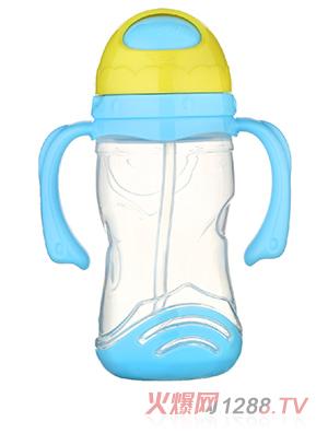 馨菲宝贝吸管水杯带底座蓝色