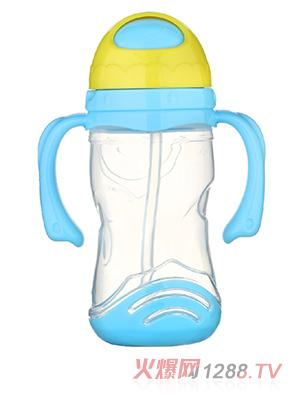 馨菲宝贝吸管水杯带底座蓝色小号