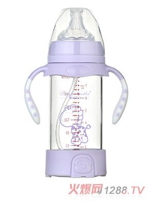 馨菲宝贝奶瓶带底座紫色