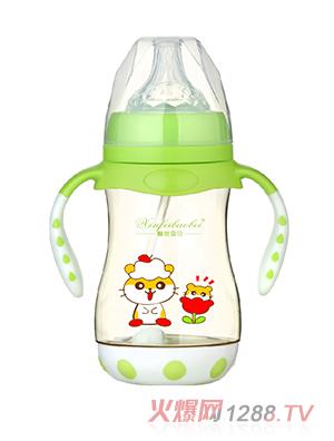 馨菲宝贝奶瓶带底座双柄绿色