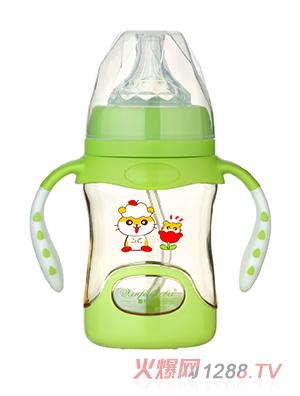 馨菲宝贝奶瓶带底座双柄绿色小号