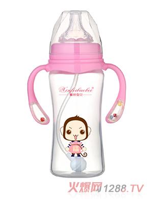 馨菲宝贝奶瓶响铃手柄粉色