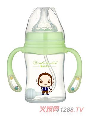 馨菲宝贝奶瓶响铃手柄绿色