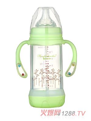馨菲宝贝奶瓶响铃手柄绿色大号