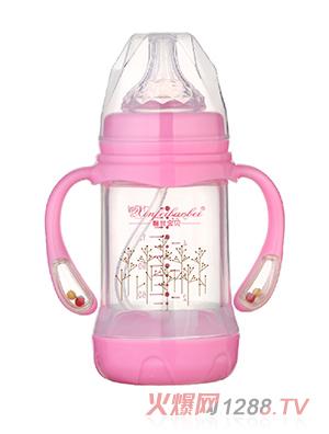 馨菲宝贝奶瓶响铃手柄红色
