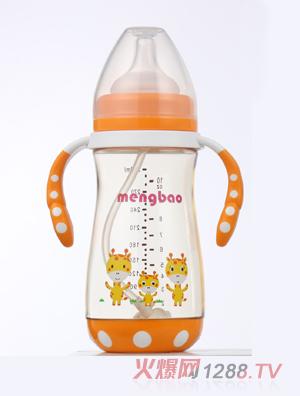 盟宝防摔底座PPSU奶瓶-橙色300ml