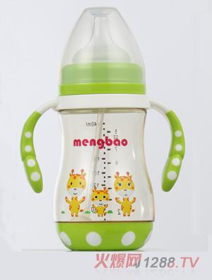 盟宝防摔底座PPSU奶瓶-绿色240ml