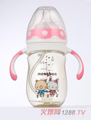 盟宝企鹅型PPSU奶瓶-粉色210ml
