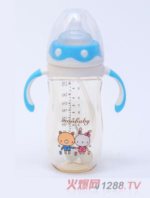 盟宝企鹅型PPSU奶瓶蓝色240ml