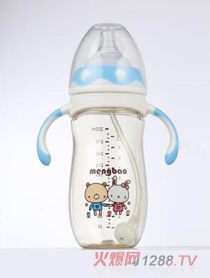 盟宝企鹅型PPSU奶瓶蓝色-300ml